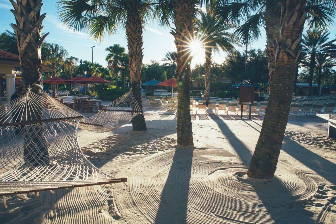 Palm trees and hammock in sand by lazy river in River Island at Orange Lake Resort near Orlando, Florida