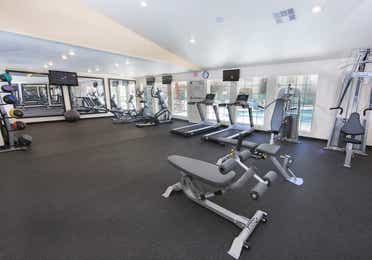 Fitness center with treadmills at Desert Club Resort.