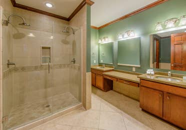 Bathroom in a three-bedroom ambassador villa at Galveston Seaside Resort