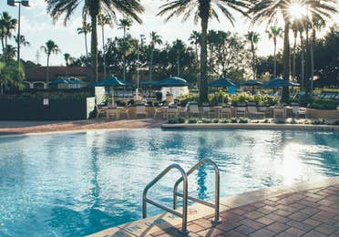 Pool view surrounded by palm trees in North Village at Orange Lake Resort near Orlando, Florida