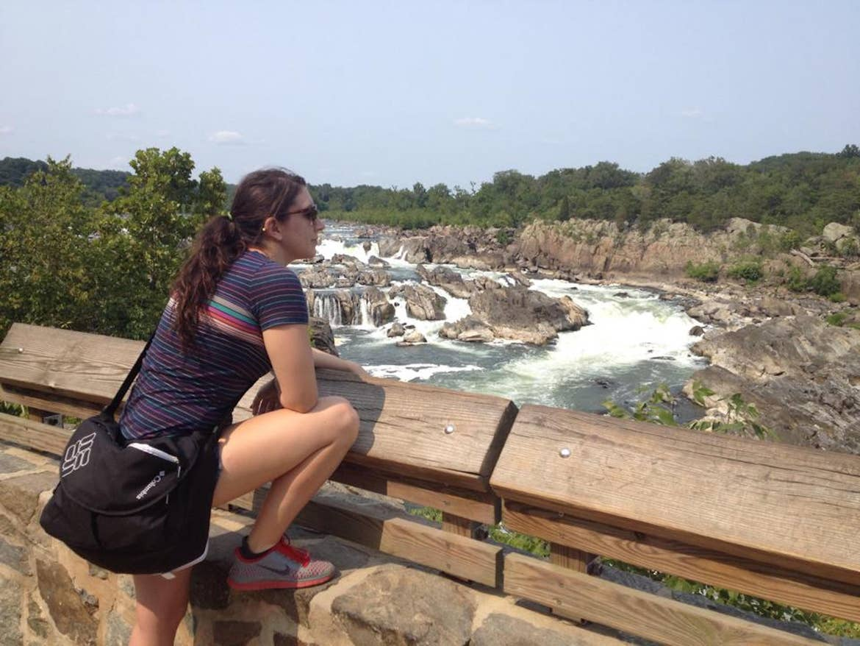 Tori looking at the waterfalls of the Potomac River at Great Falls National Park in Virginia