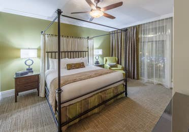 Master bedroom in a Signature Collection villa at Smoky Mountain Resort in Gatlinburg, Tennessee.