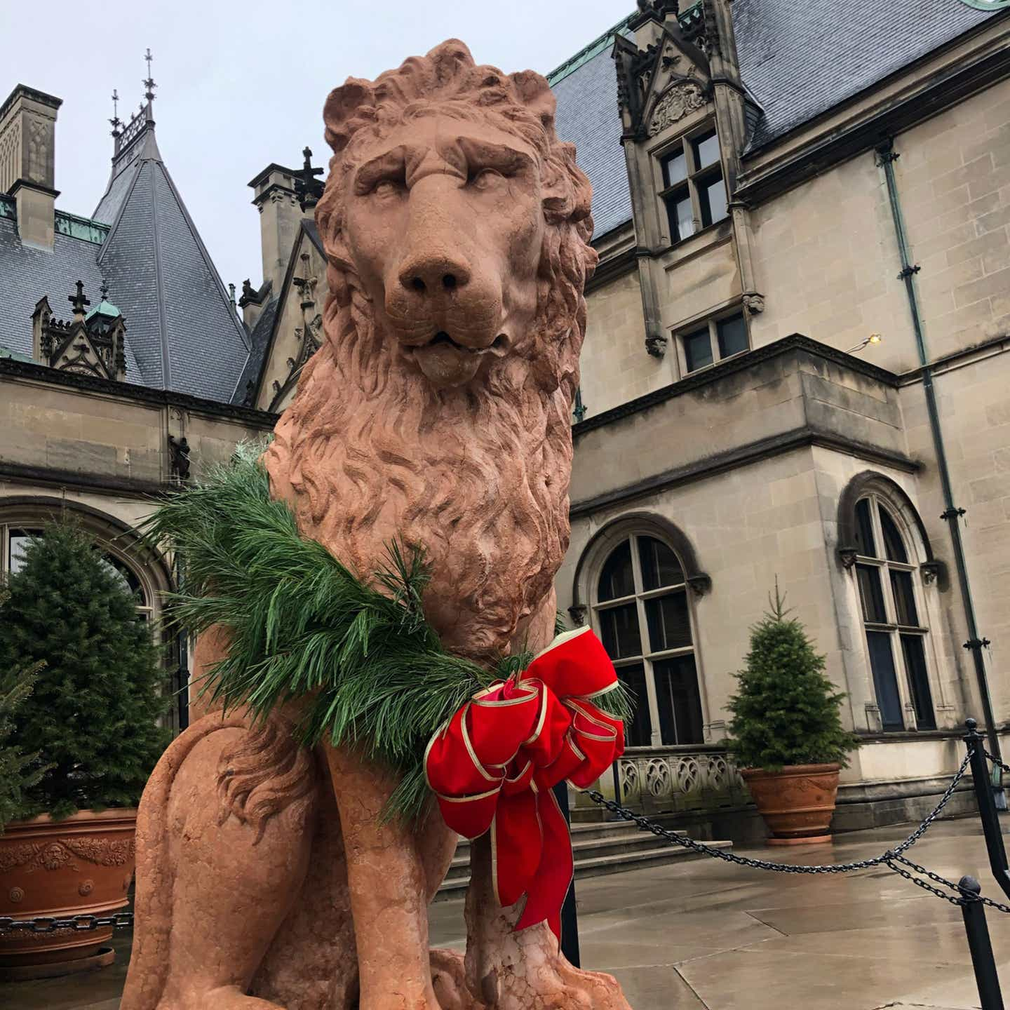 The exterior of the Biltmore Estate with a Lion statue decorated with a Christmas wreath and red bows.