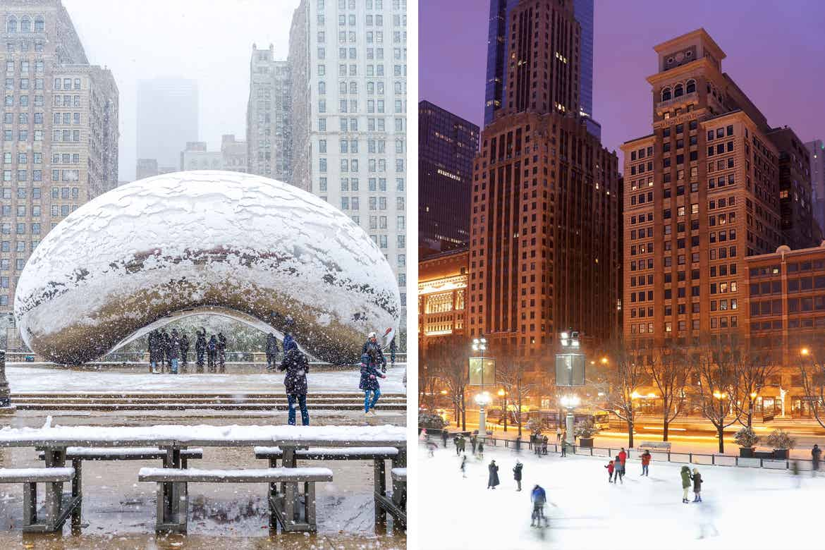 Left: 'Cloud Gate' at Millennium Park in Chicago, IL while its snows. Right: People ice skating during the evening in front of skyscrapers near Millennium Park.