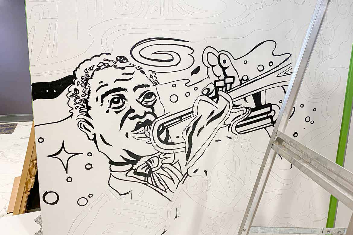 An illustration of NOLA native, Louis Armstrong, featured in the lobby of our resort in New Orleans, Louisiana.
