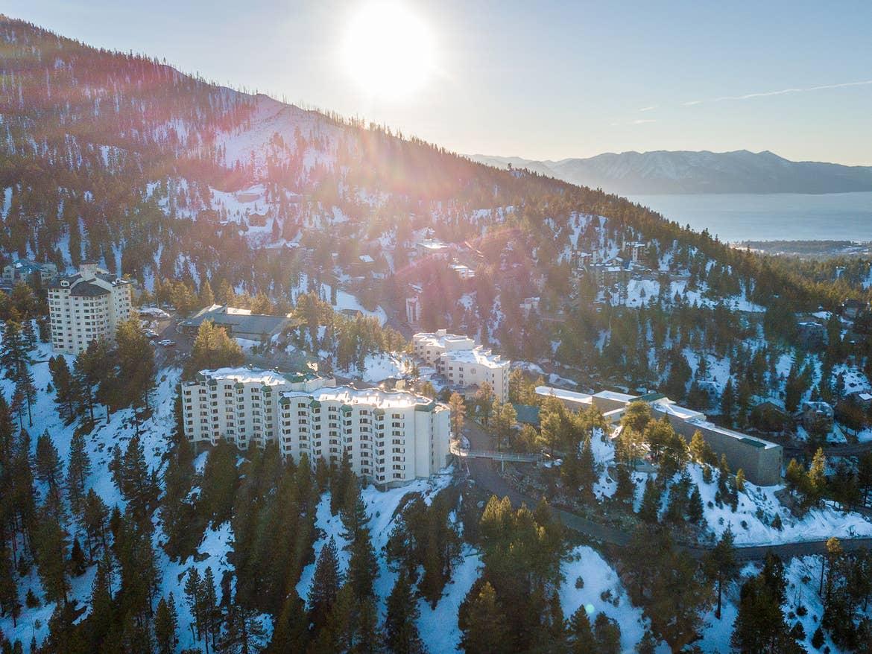 Aerial shot of Tahoe Ridge Resort in Stateline, Nevada.