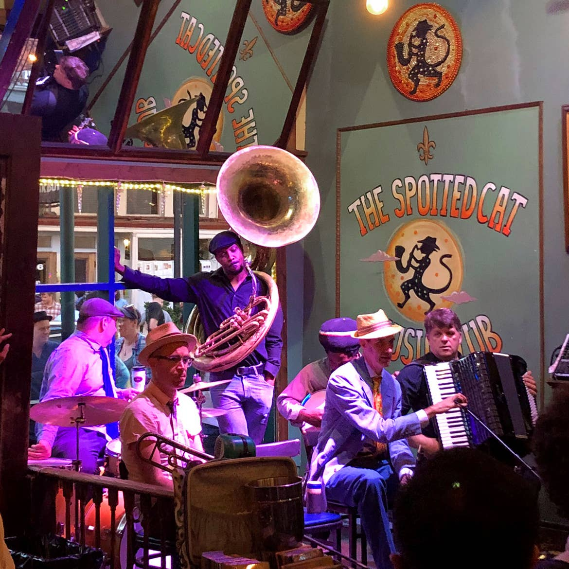 Jazz musicians perform at The Spotted Cat.