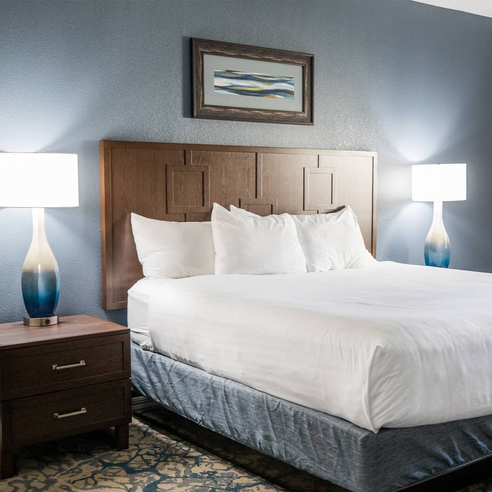 Bedroom in a two-bedroom villa at Cape Canaveral Beach Resort.