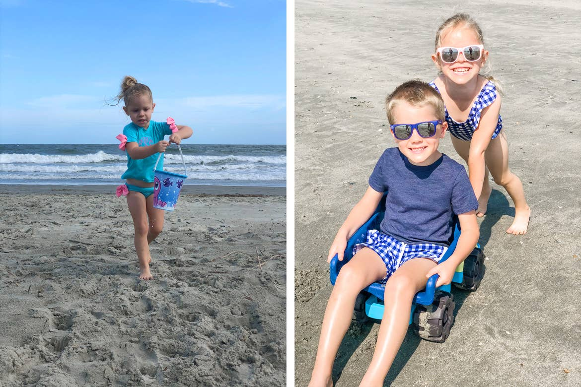 Left: Featured Contributor, Brianna Steele's daughter runs barefoot in the sand with a bucket and shovel on the beach. Right: Brianna's children play in the sand with a toy truck.