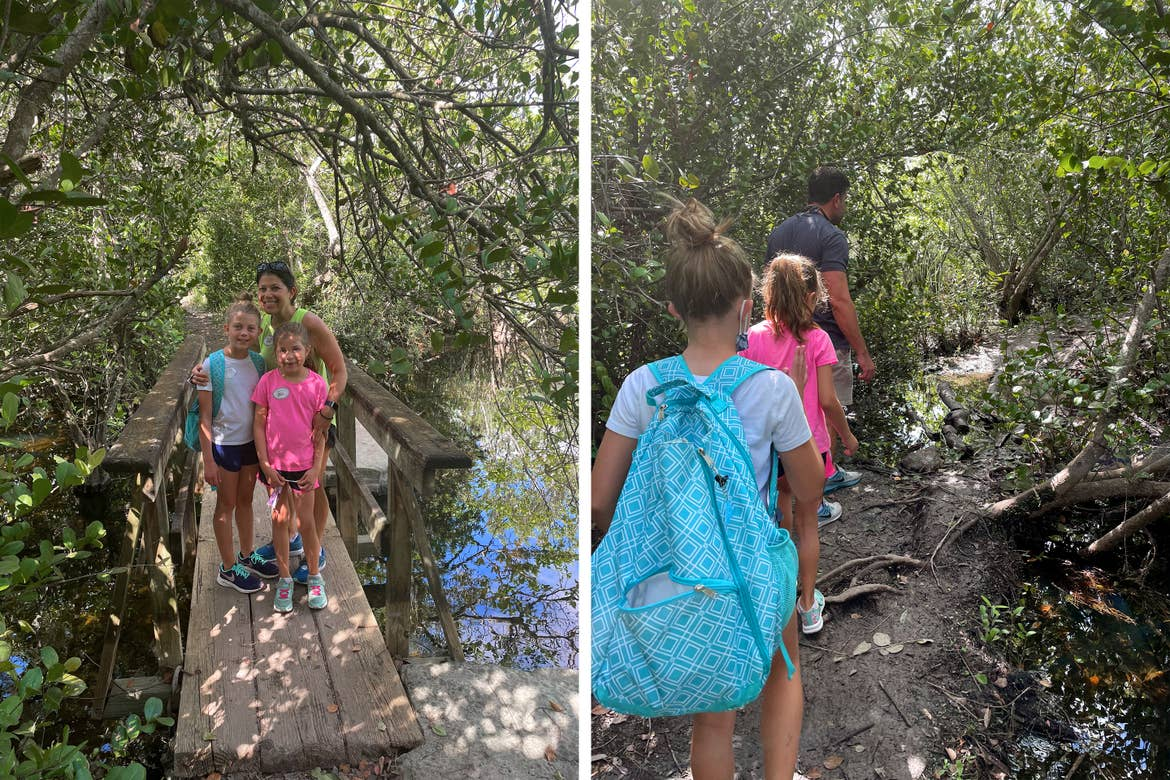 Left: A caucasian woman (middle) poses with two young caucasian girls (front) on a wooden bridge in the Everglades. Right: Two young caucasian girls (front) walk behind a Caucasian male (back) through the Everglades.