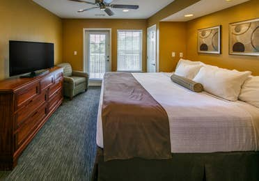 Master bedroom in a three-bedroom ambassador villa at the Hill Country Resort in Canyon Lake, Texas.