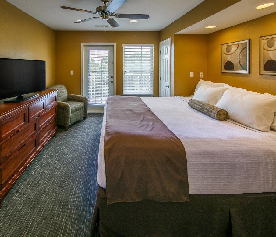 Master bedroom in a three-bedroom ambassador villa at the Hill Country Resort in Canyon Lake, Texas.