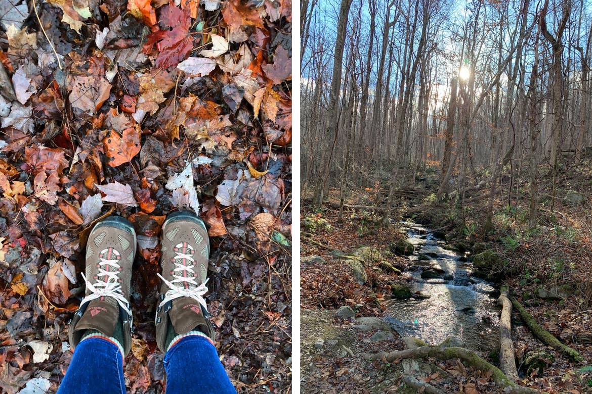 Left: Featured Contributor, Jennifer C. Harmon's hiking boots standing in a pile of colorful fallen leaves. Right: Rainbow Trail creek surrounded by trees and fallen leaves.