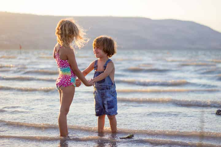 two children on a beach