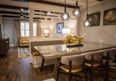 Dining room table in a two-bedroom Signature Collection villa at Cape Canaveral Beach Resort.