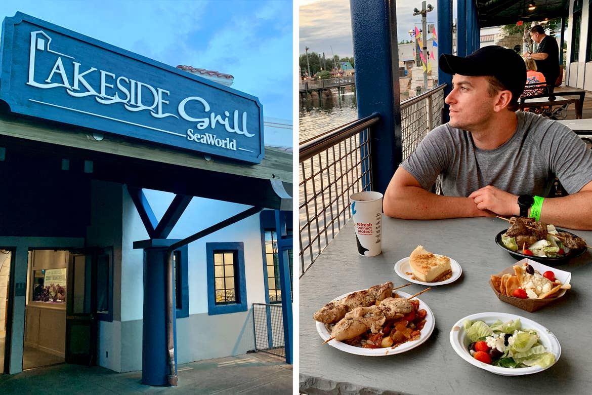 Left: A restaurant exterior with signage that reads, 'Lakeside Grill SeaWorld' at dusk. Right: A Caucasian male wearing a grey t-shirt and black sits at a dining table surrounded by food overlooking the water.