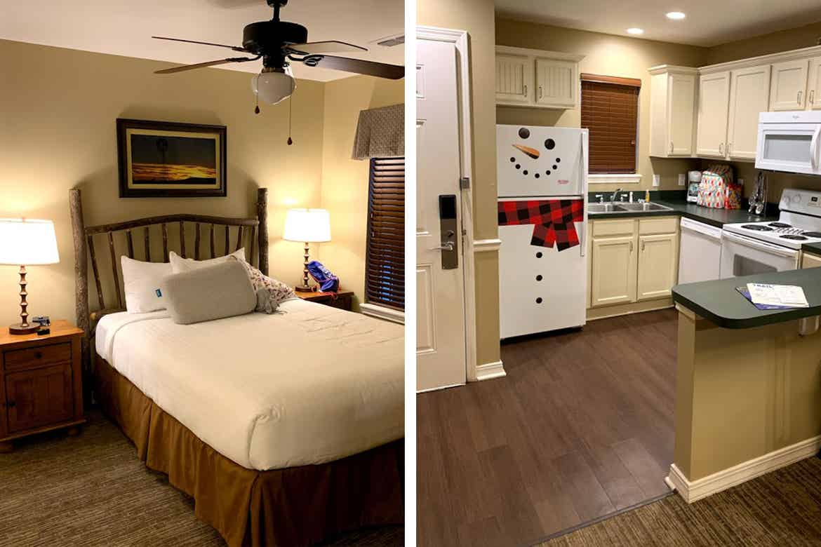 Left: An interior shot of our villa bedroom at the Villages Resort in Texas. Right: An interior shot of our villa kitchen at the Villages Resort in Texas.