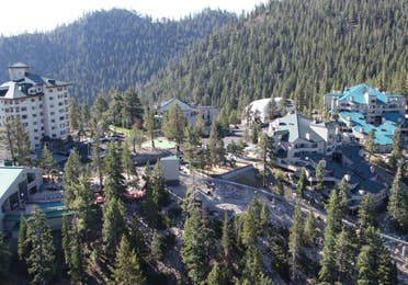 Aerial view of Tahoe Ridge Resort and the Skier Express in the summer