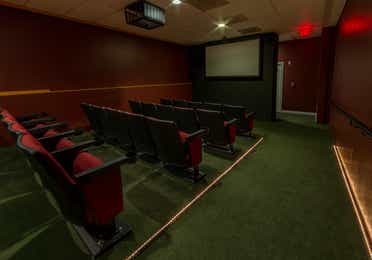 Movie theater with four rows of five seats and a projector mounted to the ceiling.
