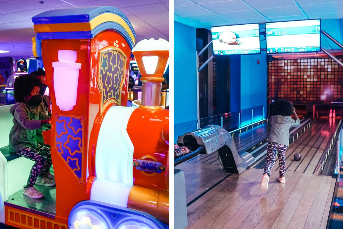 Left: Monet's daughter rides one of the arcade vehicles. Right: Monet's daughter rolls a bowling ball down the alley at our resort.