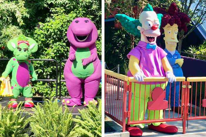 Left: Barney (right) and Baby Bop (left) stand and greet guests from a stage. Right: Krusty the Clown (left) and Sideshow Bob (right) welcome guests at ground-level with a gate to separate and maintain social distancing.