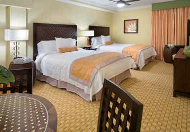 Two queen beds in a studio room in West Village at Orange Lake Resort near Orlando, FL