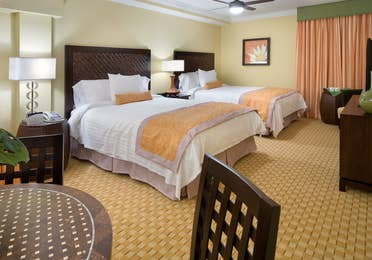 Two queen beds in a studio room in West Village at Orange Lake Resort near Orlando, FL