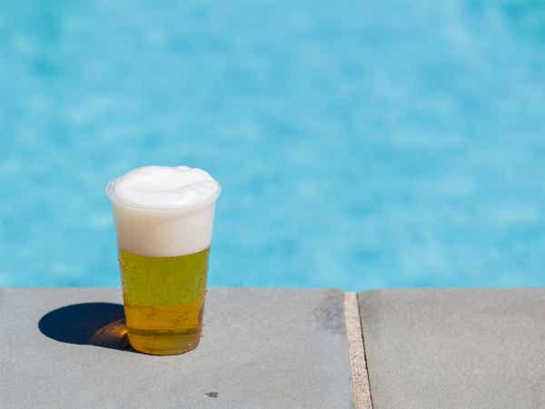 Beer by the pool.