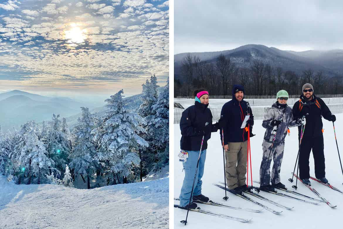 Left: Snow-capped mountain range of Stowe, VT under a cloudy sunset. Right: Co-contributor, Jenn C. Harmon (middle-right), wears a graphic grey ski jacket while standing with friends wearing cross country skiing gear and helmets with goggles.