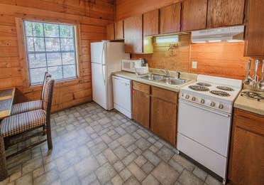 Kitchen in a one-bedroom log cabin at Holly Lake Resort in Holly Lake Ranch, Texas.