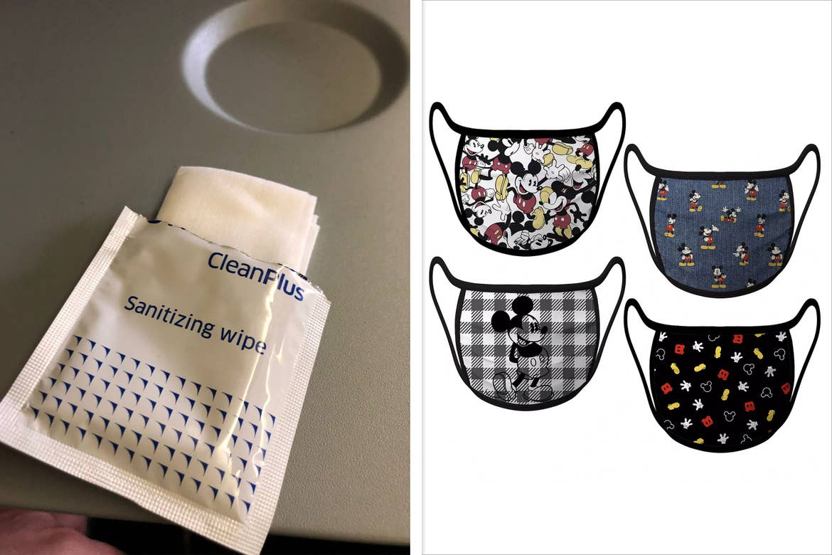 Left: An open packet of hand sanitizer towelettes on an airplane seat tray to ensure COVID-19 safety measures. Right: Various Mickey Mouse inspired cloth masks available on ShopDisney.com.