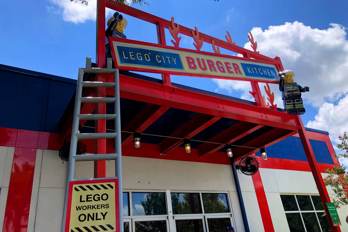 Exterior of a food service facility built out of LEGOS.