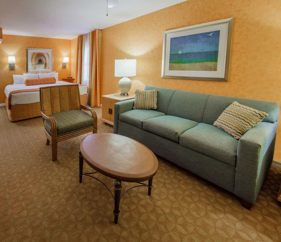 Living area in a studio villa at Cape Canaveral Resort