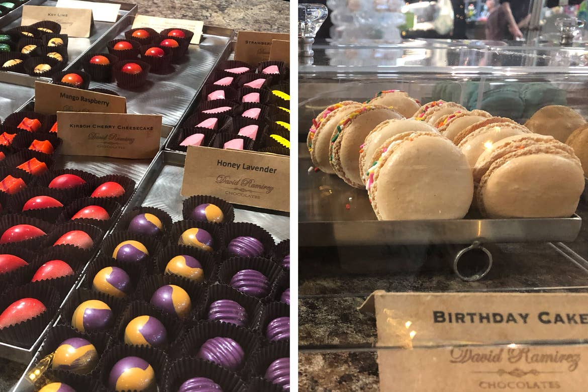 Left: Various chocolate flavors on display from 'David Ramirez Chocolates.' Right: Birthday cake macaroons with white cookies and sprinkles.