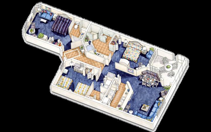 East Village three-bedroom villa floor plan