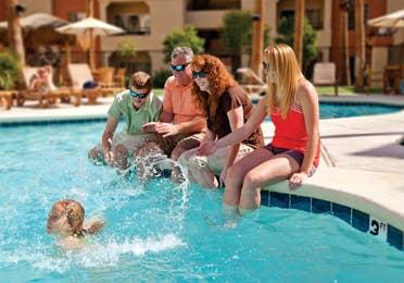 Swimming by the pool at Desert Club Resort in Las Vegas