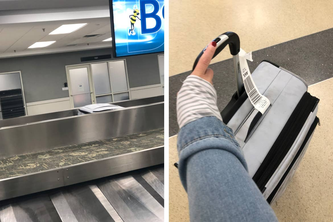 Left: A lone white travel suitcase moves along the baggage claim carousel. Right: A woman's arm holds onto a white travel suitcase with tags.