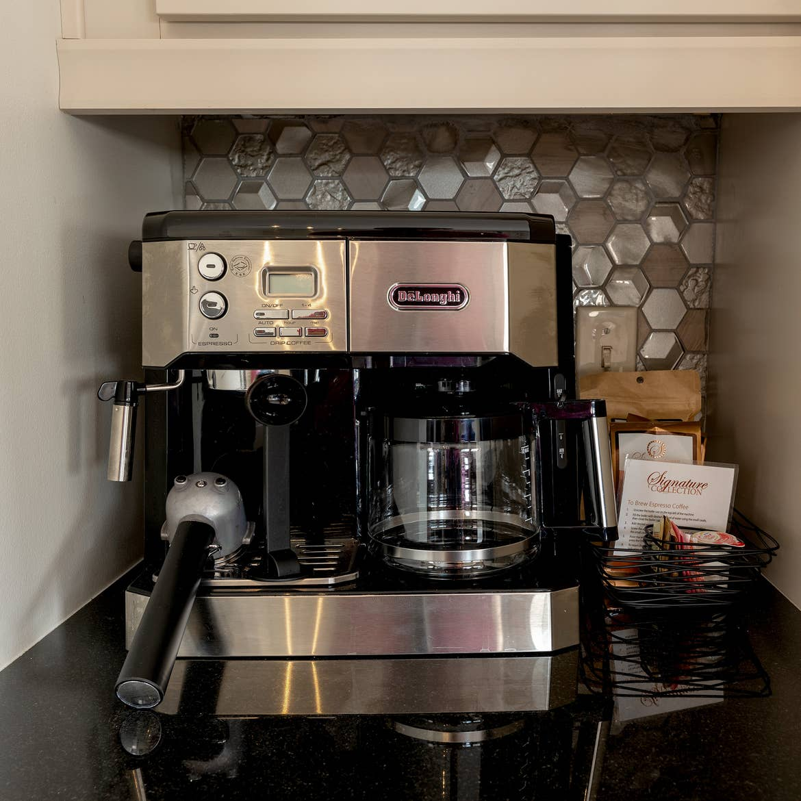 The espresso machine from the kitchen of our one-bedroom Signature Collection villa at New Orleans Resort in Louisiana.