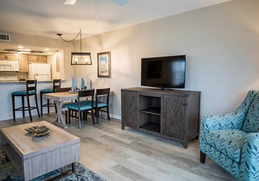 Flat screen TV in a two-bedroom villa at Cape Canaveral Beach Resort.