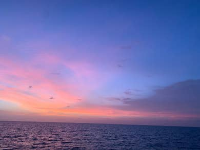 Beautiful, colorful view of the sunset from the beach in Marco Island, Florida.