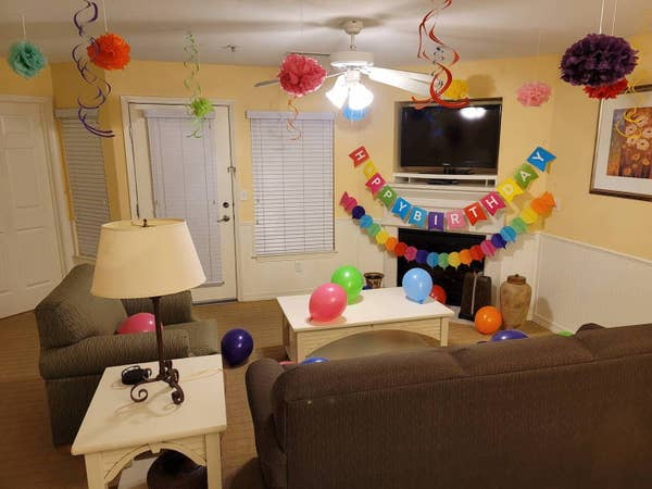 Happy birthday decor in a villa at Hill Country Resort in Canyon Lake, Texas.