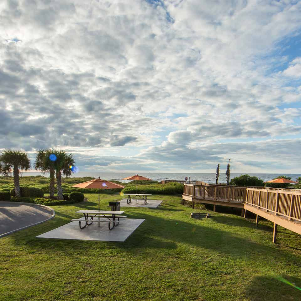 Outdoor horseshoes at Galveston Beach Resort in Texas.