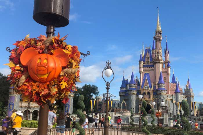 Cinderella's Castle at Magic Kingdom is decorated for the Fall season at Walt Disney World.