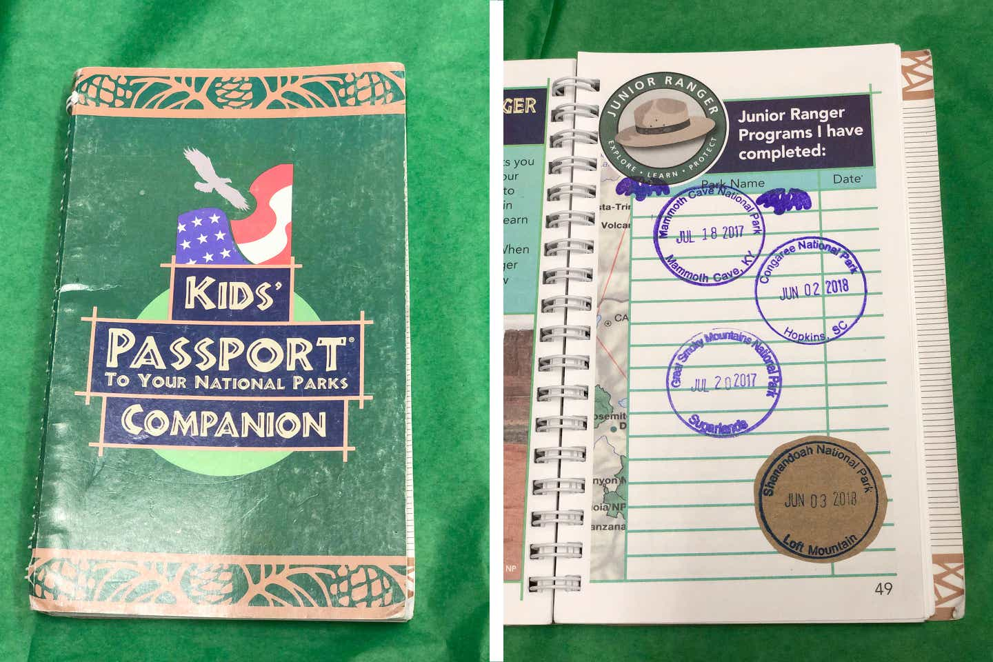 Left: A green booklet that reads, 'Kids' Passport to Your National Parks Companion' sits on green tissue paper. Right: The same booklet is open to a page containing passport stamps.
