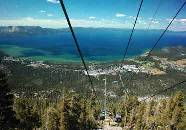 Aerial view from a ski lift at Heavenly Mountain near Tahoe Ridge Resort