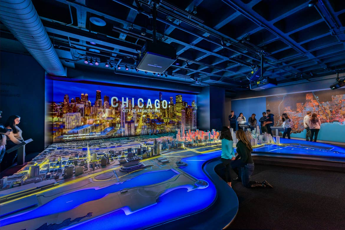 An exhibit containing scaled models of the city of Chicago. Photo courtesy of Chicago architecture Center, taken by James Steinkamp