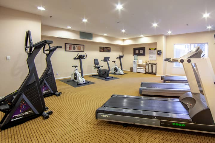Fitness center with treadmills and elliptical bikes at David Walley's Resort in Genoa, Nevada.