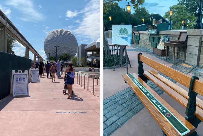 Left: Guests enter from the EPCOT parking lot past safety tape to maintain social distance as Spaceship Earth can be seen in the background. Right: Bench in the France Pavilion at World Showcase clad in safety tape to maintain social distance.