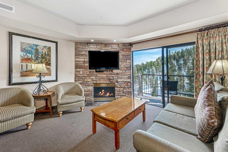 Living room in a Ridge Pointe two-bedroom villa at Tahoe Ridge Resort
