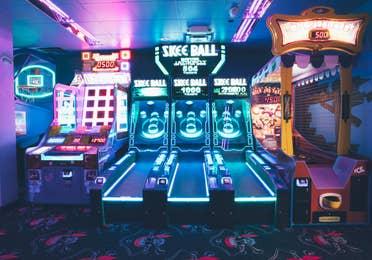 Arcade with ski-ball in River Island at Orange Lake Resort near Orlando, Florida